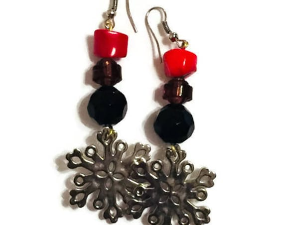 Christmas and Snowflakes Dangling Earrings, handmade earrings, Unique Jewellery, Holiday Jewelry, Red Bead earrings, Custom made Earrings