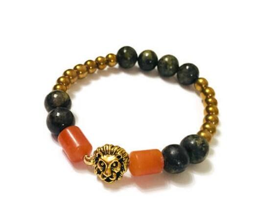 Gold and Black Bracelet, 8-Inch bracelet, Handmade Jewelry, Custom Jewellery, Healing stones, gift for her, Red Aventurine Hematite bracelet