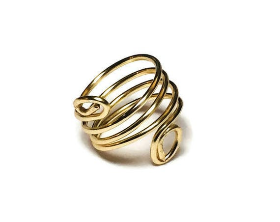 Top-Bottom Curl Ring, Wire Wrapped Ring, Ring Jewellery, Ring for women, Size 5 1/2 Ring, Handmade Jewelry, Boho Rings, Rings for her, Gifts