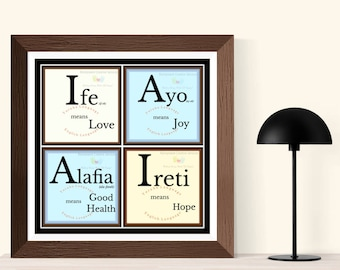 Good Tidings in Yoruba, African Words of Affirmation, Love, Joy, Good Health, Hope Wishes, Digital Download, Printable Word Art, Afrocentric