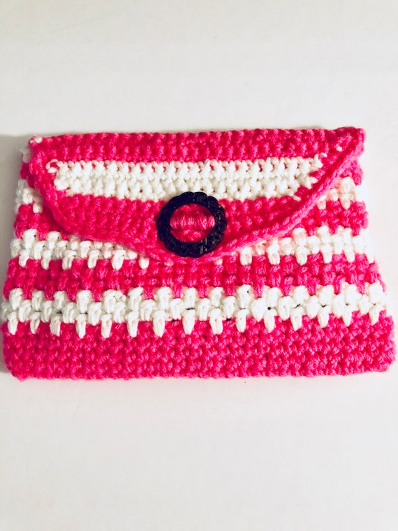 Crochet purse, crochet handbag, crochet clutch purse, pink and white bag, detatchable handle, hand purse, gift for her, woven purse, gifts