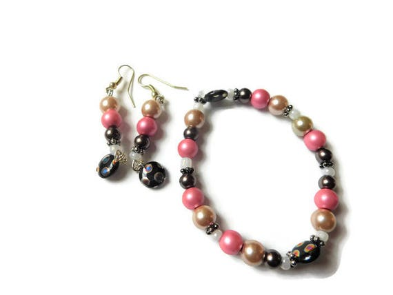 B. Earrings and Bracelet Set | Multicolored Pearl | Handcrafted | Jewelry set | women Jewelry | Dainty | Beautiful gift | Bead | glass | set