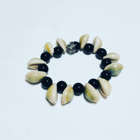 Cowrie Shell and Black Bead unique Bracelet! 7-Inch Stretch Bracelet, fun Bracelet, Handmade Jewellery, Custom Jewelry