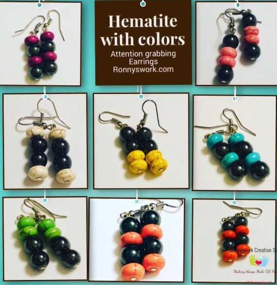 Hematite and Rainbow color Earrings, Accessories, Spring Jewelry, Easter Jewelry, Custom Jewellery, Gift for her