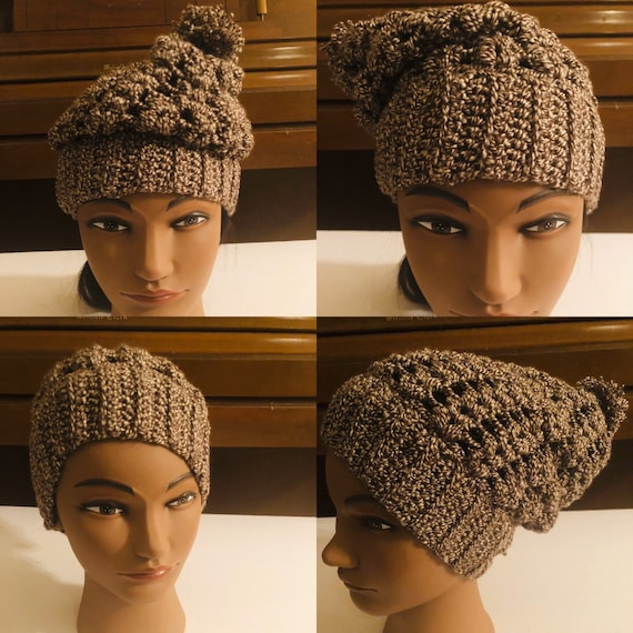 Crochet Beanie with little pom pom, kid's size hat, Brown and White Handmade Hat, Unique wool hat, Gift For her, Winter Hat
