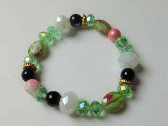 Multicolored Bead Bracelet, Handcrafted Women Jewelry, Beautiful Gift for Her, Flexible Bracelet, Jade White Black Pink bead Bracelet