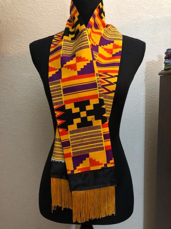 Afrocentric Graduation Stole; Satin Sash; Kente; African Fabric Pocket Square; Vintage Scarf; Unisex Wedding Gift Set; Unique Accessories
