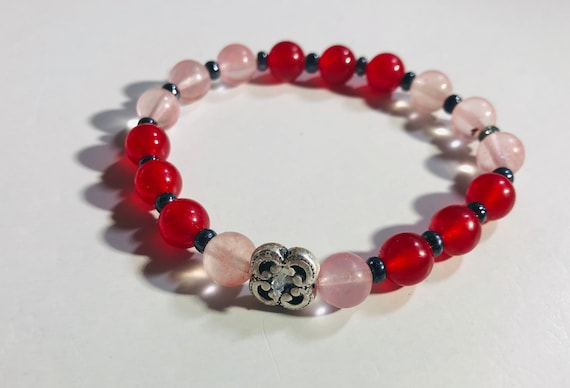 Colored Jade & Cherry Quartz Stone Bracelet, Handcrafted Jewelry, Healing Bracelet, Gift for Her, Custom Made Stretch Bracelet, SIlver Charm