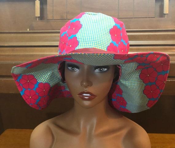 Ankara Sun Hat, Sunshine Beach Hat, Reversible Floppy Hat, Kente Handmade Gift, African Fabric Satin-lined Fashionable hat, Summer Accessory