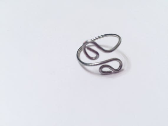 Adjustable Wire wrapped Silver Ring- Handmade Boho Ring- Spiral Customade ring- Everyday Jewellery- Gift for her