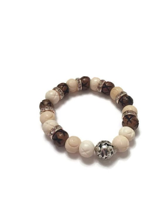 White and Brown Bone Bead Bracelet, Unisex Bracelet, Handmade Jewelry, Custom made bracelet, Unisex Jewelry gifts, 8-inch Flexible Bracelet