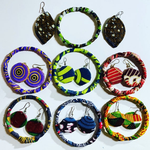 Jewelry Set; Ankara Earrings; Bangles; Fabric Jewelry; Handmade; Accessories; Boho; Afrocentric; African Fabric