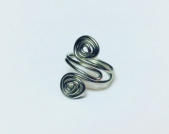 Silver Swirl Adjustable Ring, Wire Wrapped Ring, Jewellery, Ring for women, Wire Ring, Handmade Jewelry, Boho Rings, Rings for her, Gift