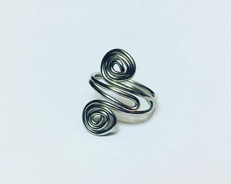 Wire Wrapped Swirl Ring-Handmade Jewelry