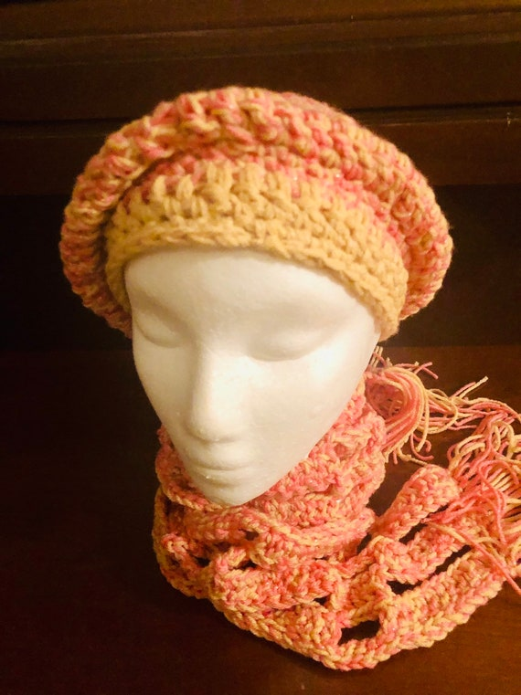Crochet Hat, crochet scarf, Custom made Hat and shawl set, handmade item, stylish hat, Gift for her, Beret, Newsboy Hat, Hat with Brim, Gift