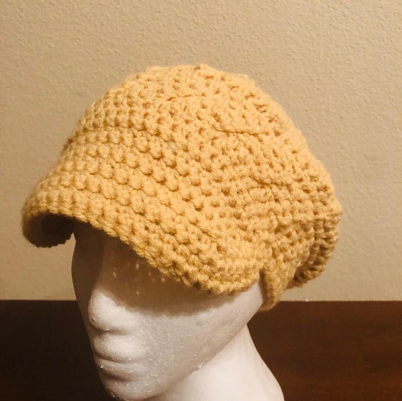 Beige Newsboy Crochet Hat, custommade, Crochet, wool hat, handmade hat, Fedora hat, crochet stylish hat, Gift for her, gift for him