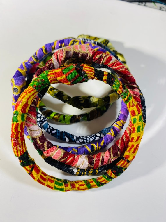 Ankara Fabric Bangles, African Bangles Bracelets, Handmade Fabric Jewelry, Unique Colorful Accessories, Afrocentric Jewelry, Gift Ideas
