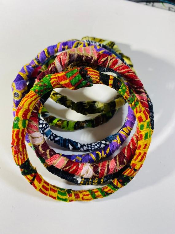 Ankara Bangles; African Fabric Bracelets; Jewelry; Handmade; Accessories