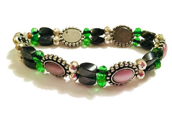 Hematite Gemstone Bracelet, Magnetic Bead Bracelet, Handcrafted Jewellery, Women Flexible Jewelry, Green glass beads, Silver Rondelle beads