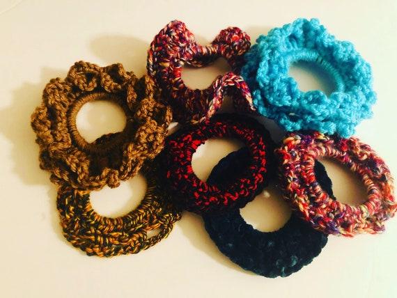 Handmade Scrunchies, Crochet Hair-ties, Scrunchie, ponytail holders
