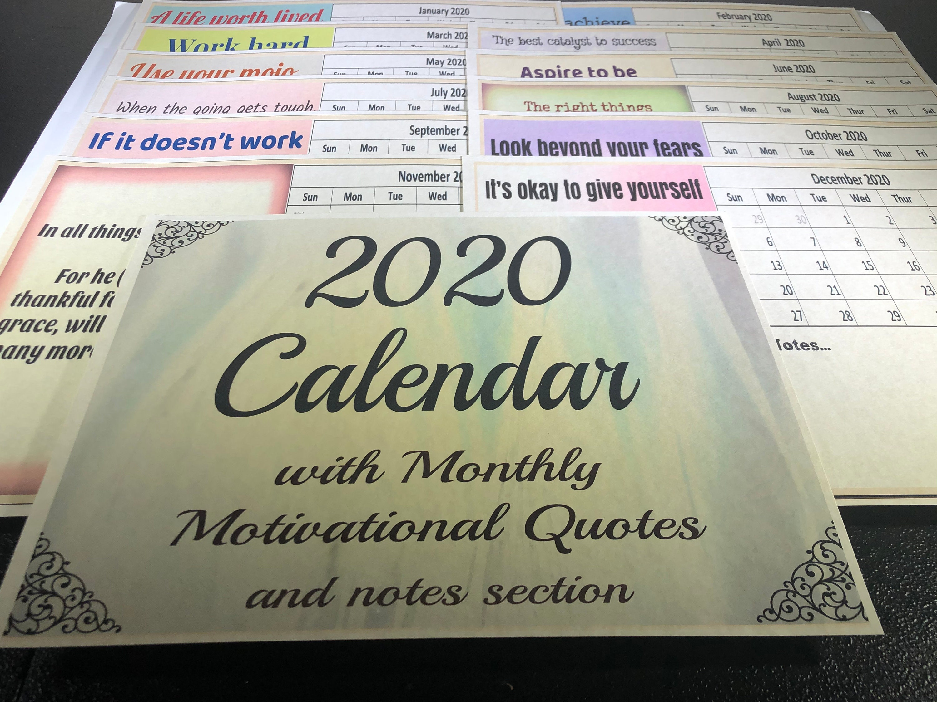 calendar monthly motivational quotes and notes section