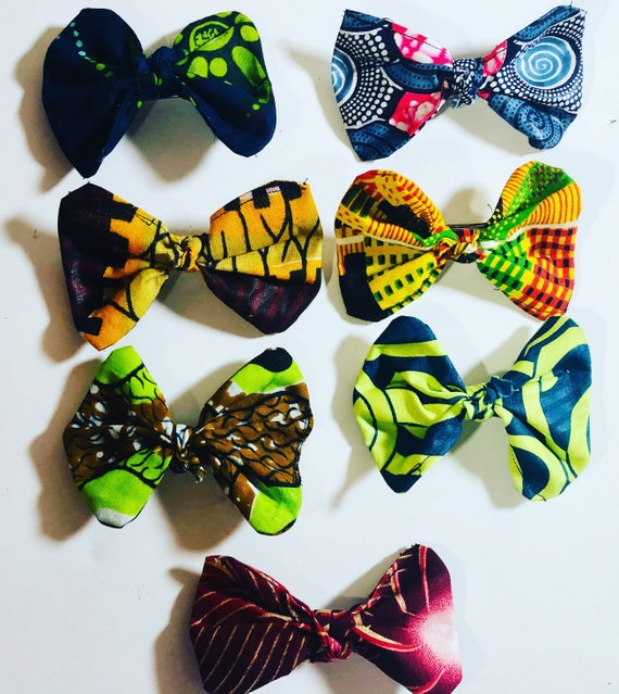 Hair Bow- Ankara Hair Clips- Accessories- African Print French Barrettes- WaxPrint Hair Clip-  Butterfly Clip- Handmade- Gift for her