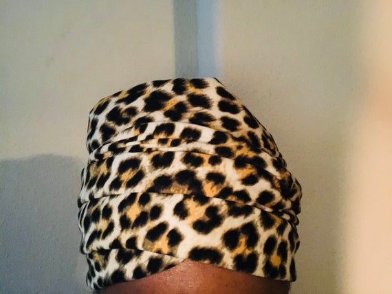 Satin-lined Leopard Print Headwrap, Reversible Scarf, Natural Hair Deep conditioning Pre-Poo Scarf, Gift for Her, Handmade Hair Accessory