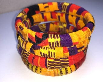 Ankara Fabric Bangles, Multicolored Bangles Bracelets, Handmade Fabric Jewelry, Unique Colorful Accessories, Afrocentric Jewelry, Gift Ideas