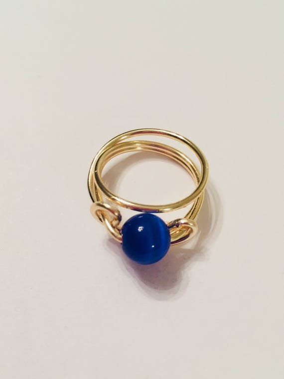 Blue Cats Eye Wire Wrapped Ring, bead Ring, Ring Jewellery, Ring for women, Size 5 Ring, Handmade Jewelry, Rings for her, Gift for mom