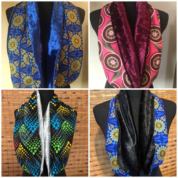 Neck Scarf Reversible- African Print- Velvet- Afrocentric- Ankara- Elegant Wedding Accessories- formal Outfit- Classy- Unisex
