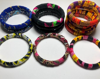 Ankara Fabric Bangles, Stackable Multicolored Bracelets, Handmade Jewelry, Colorful Accessories, Afrocentric Jewelry, Colorful Gifts for all