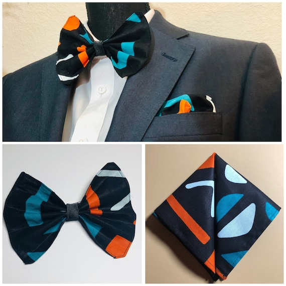 Mens Pre-tied Bow Tie and Pocket Square, African Print & Satin Reversible Bow Tie, Ankara Suit Accessories, Wedding Formal, Gift for him