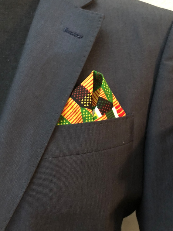 Mens Pocket Square, African Print, Handkerchief, Ankara Suit Accessories, Kente Gift Set, Wedding Clothing for men, Gift for him, Facemasks