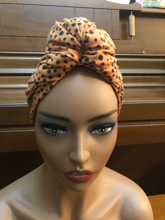 Pre-tied Head-wrap; Turban; Slip-on scarf; Adjustable Headwrap with faux bun; Gift for her; Natural Hair; Seamless Scarf; Hair Accessories;
