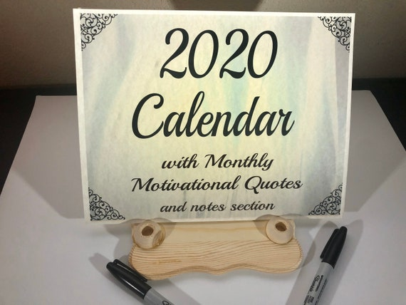 2020 Calendar with monthly motivational quotes and notes section, wall hanging, tabletop, desktop, calendar and wooden pen holder base