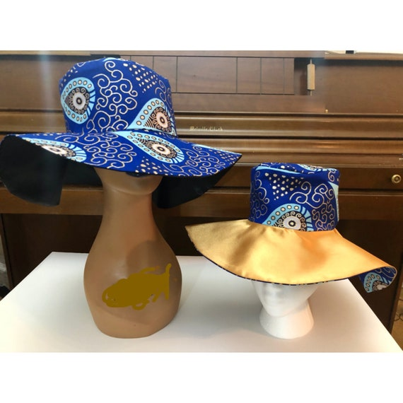 Mommy and me Ankara Sun Hat, Kids Beach Hat, Reversible Floppy Hat, Handmade Gift, African Fabric Satin-lined Stylish hat, Summer Accessory