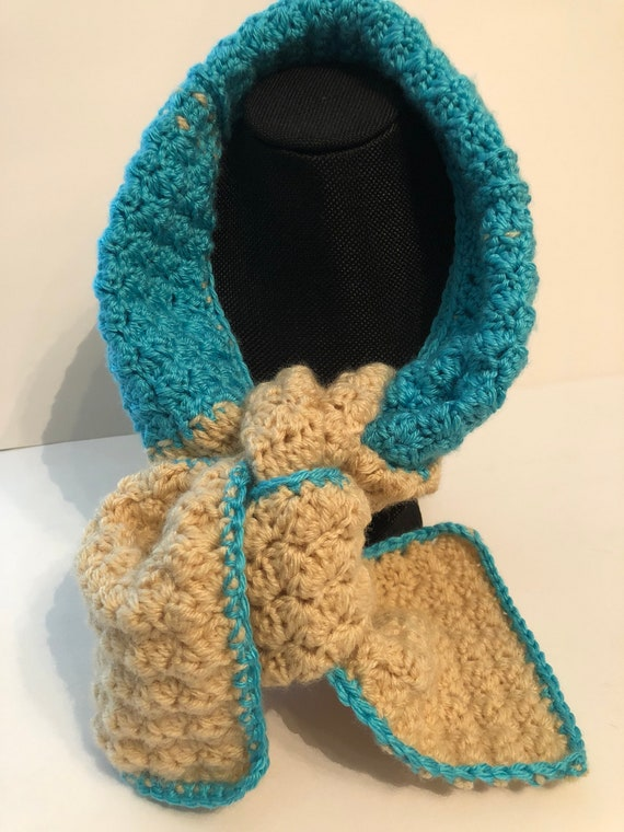 Blue Beige Crochet Scarf, Neck Wrap, Winter Scarf, Crochet Shawl, Scarf, Gift for Her, Neck Warmer