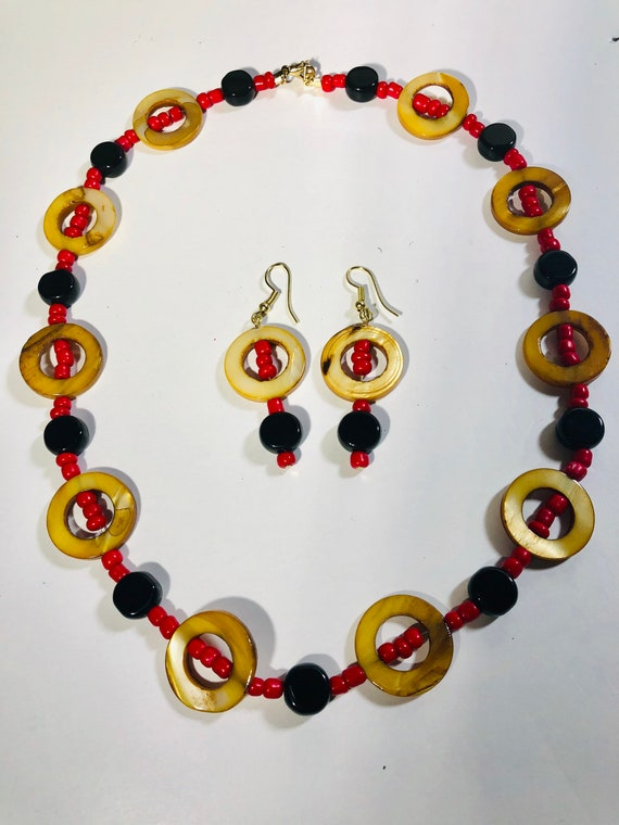 Necklace and Dangle Earrings Jewelry Set - Brown Circle with Red Corral Beads and Onyx stones, Custom Made Jewelry, Handmade, Gift for Her