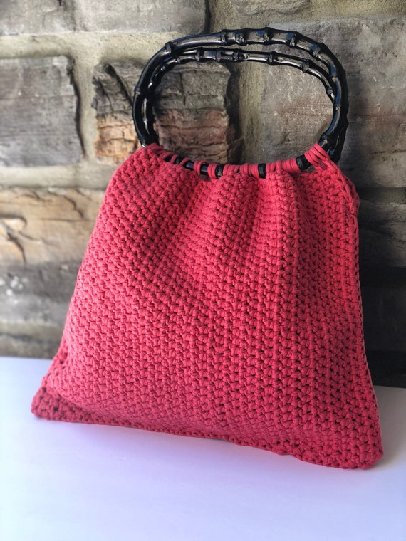 Crochet bag, Pouch, purse, tote, pink bag, wooden handle