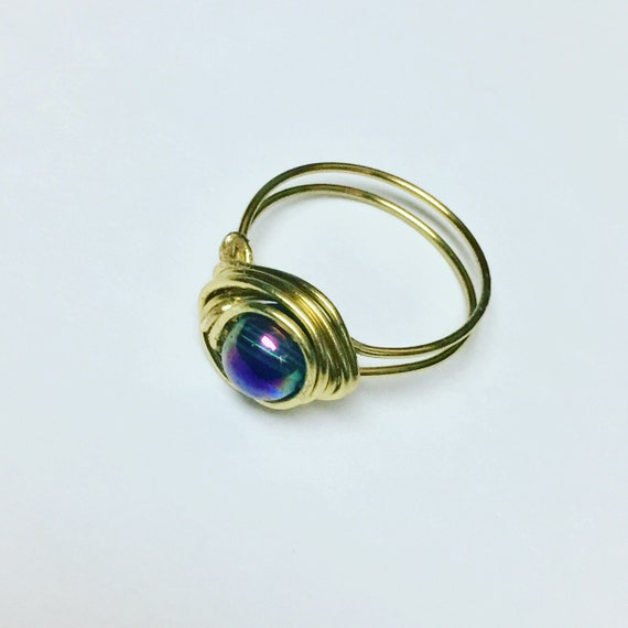 Brass and Rainbow Ring, Wire Wrapped Ring, Jewellery, Size 7 Ring, Handmade Jewelry, Boho Rings, Rings for her, glass beads, gift for mom