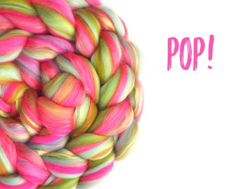 Blended top - roving - 100g - 3.5oz - 23 micron Merino - Bamboo - Silk -  POP!