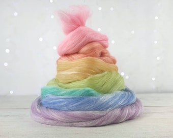 Spinning and weaving wool || Pastel rainbow wool top set || 140g | 5 oz || Merino, Llama fibre, Rose fibre, and sparkles | Let it SNOW GLOW