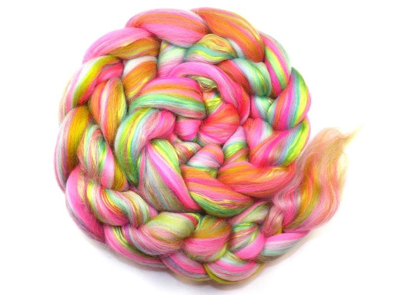 Blended top Silk 3.5oz roving 100g POP! 23 micron Merino