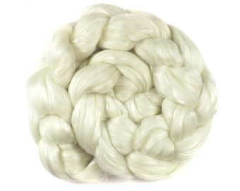 Spinning fibre - Blended top - undyed white Merino wool and mulberry silk - 3.5oz/100g - CLOUD