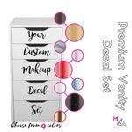 CUSTOM VANITY DECALS: Choose Your Custom Makeup Vanity Decals (Organizer not included)