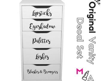 ORIGINAL VANITY DECALS:  Makeup Vanity Stickers Decals Makeup Organization Set of ten (10) decals