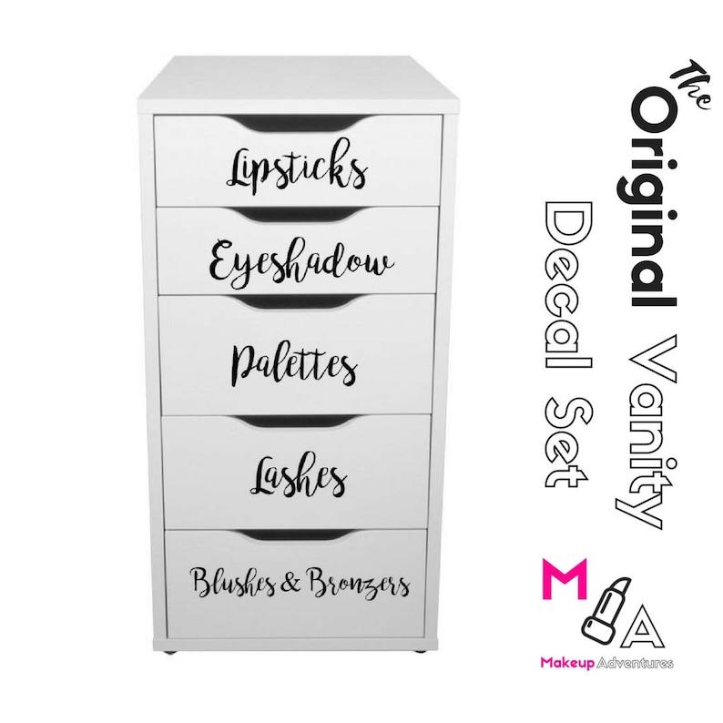 ORIGINAL VANITY DECALS:  10 Makeup Vanity Decals Organizer image 0