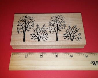 2009 Northwoods Rubber Stamp  - Four Trees