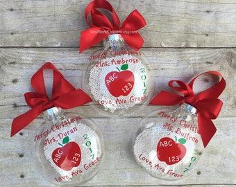 set of 3 christmas ornaments for teacher christmas presents for teacher christmas gift for teacher holiday teacher gift apple ornament