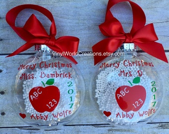 set of 2 christmas ornaments for teacher christmas presents for teacher christmas gift for teacher holiday gift for teacher apple